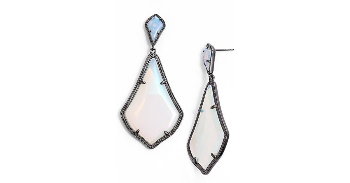 Lyst Kendra Scott Mystic Bazaar Alexis Drop Earrings Gunmetal Iridescent Opalite In Blue