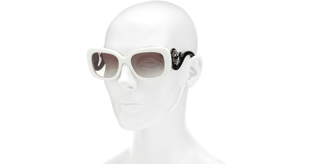 1300036919c1 ... ireland lyst prada minimal baroque square frame sunglasses in white  db8c7 d5873