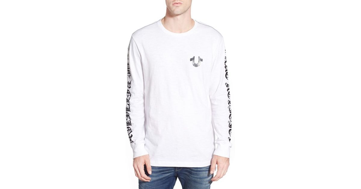 bc35bf9765162 Lyst - True Religion Graphic Long Sleeve T-shirt in White for Men