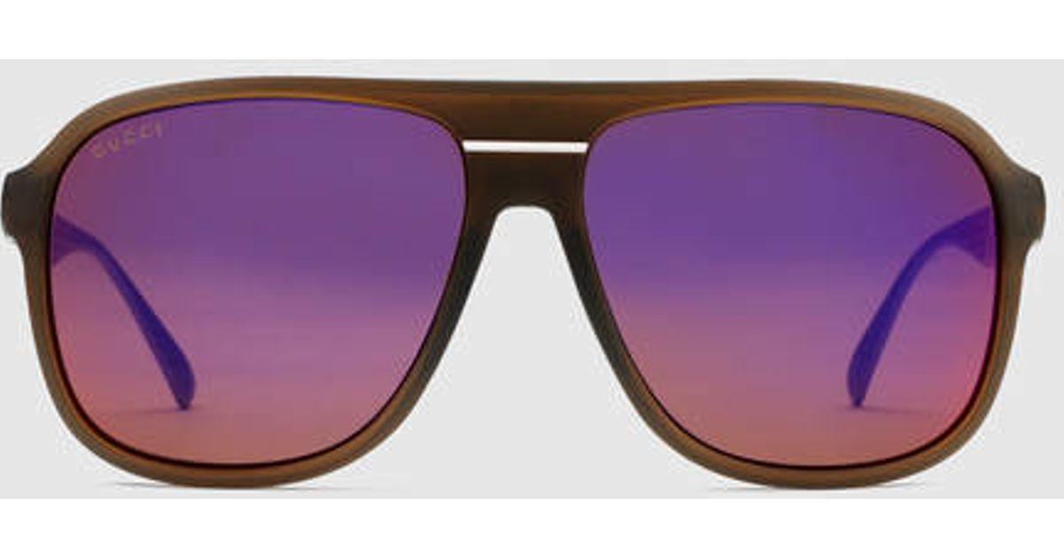 065ea6894a93a Gucci Aviator Sunglasses Brown