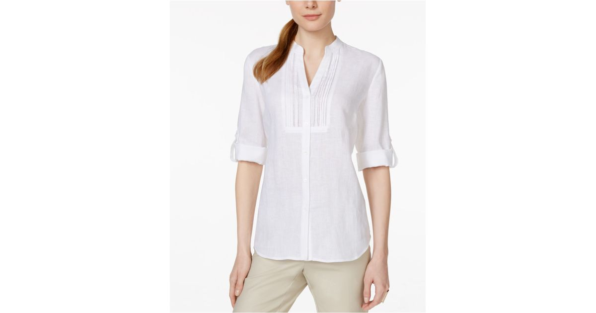 Charter Club Petite Linen Pintucked Shirt Only At Macy S