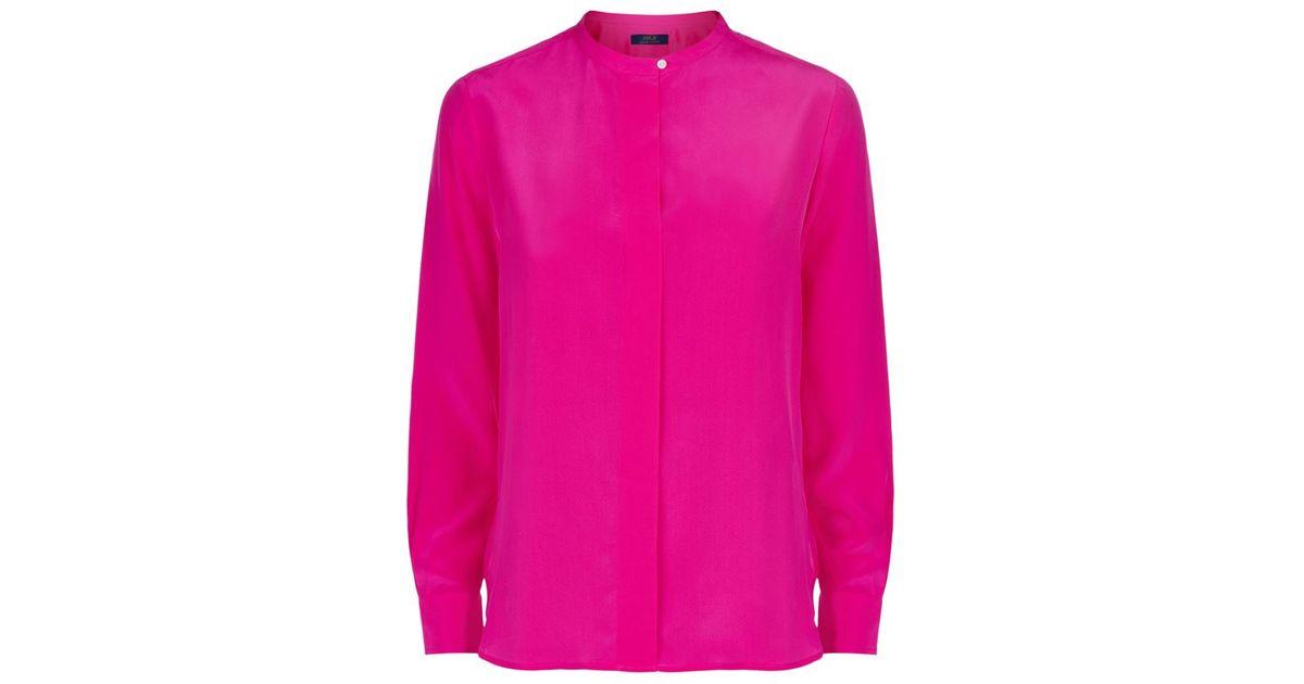 7895dc2a Polo Ralph Lauren Clarissa Silk Shirt in Purple - Lyst