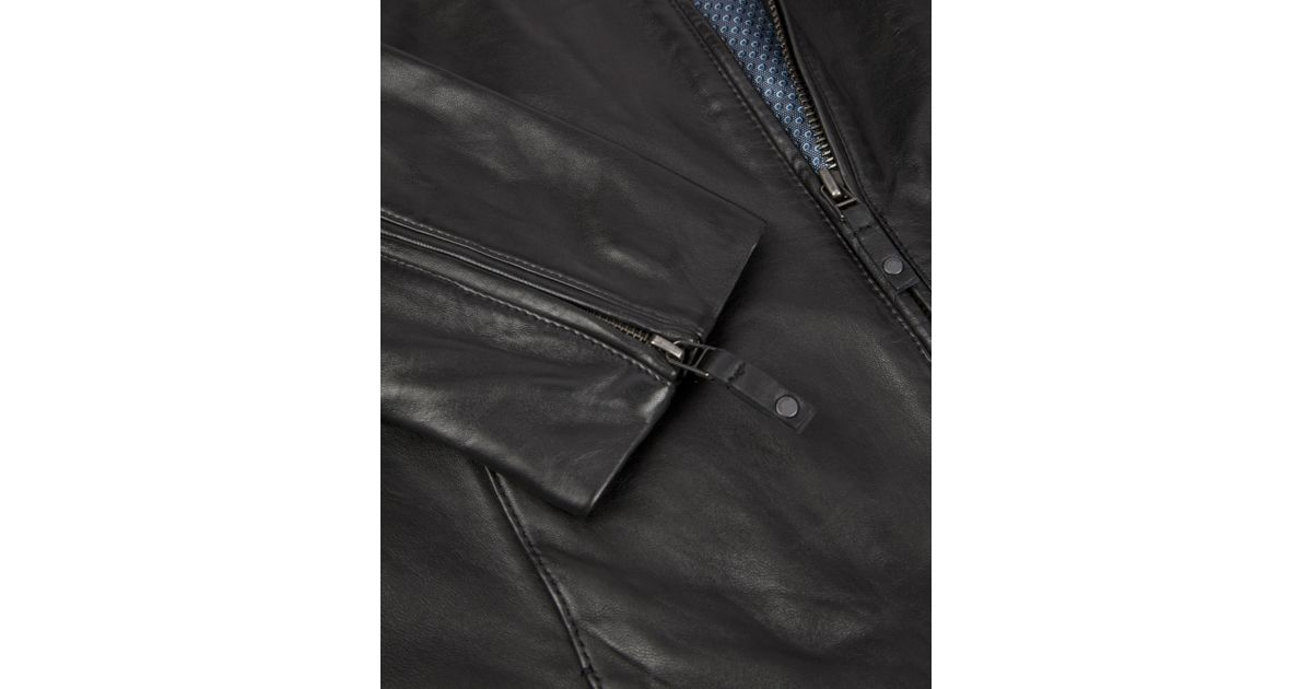 8562bc279fa0ea Lyst - Ted Baker Kennit Stab Stitch Front Leather Jacket in Black for Men
