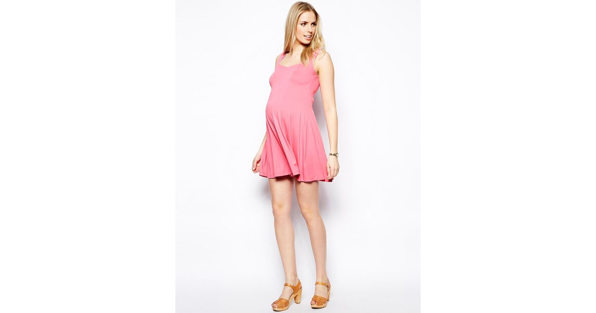 2604c62dff01 ASOS Skater Dress With Sweetheart Neck in Pink - Lyst