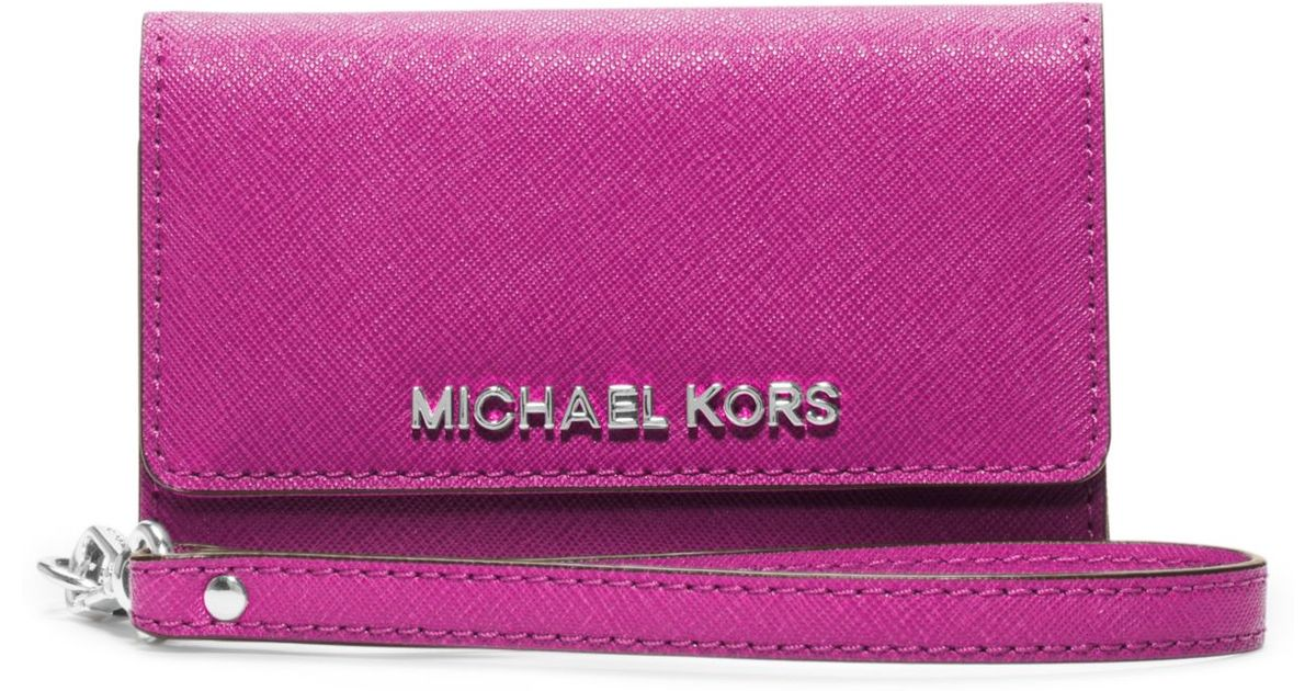 66b067ed1bc4 Lyst Michael Kors Saffiano Leather Phone Wristlet For Iphone 5 In Pink