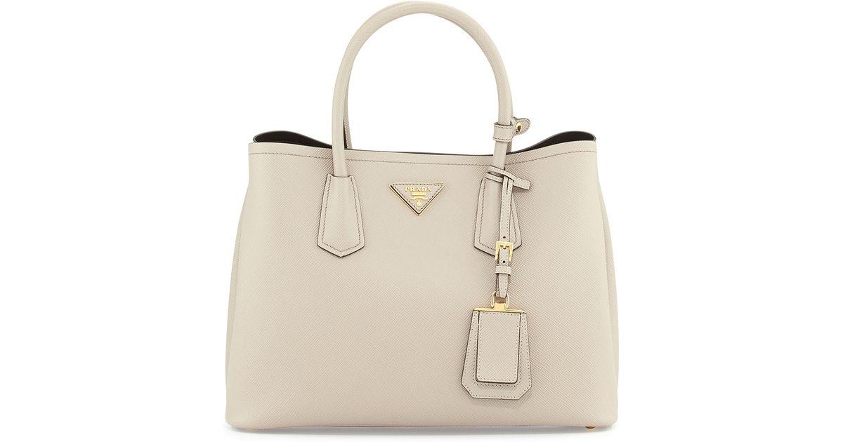 Lyst - Prada Saffiano Cuir Small Double Bag in Natural 06da1c010097f