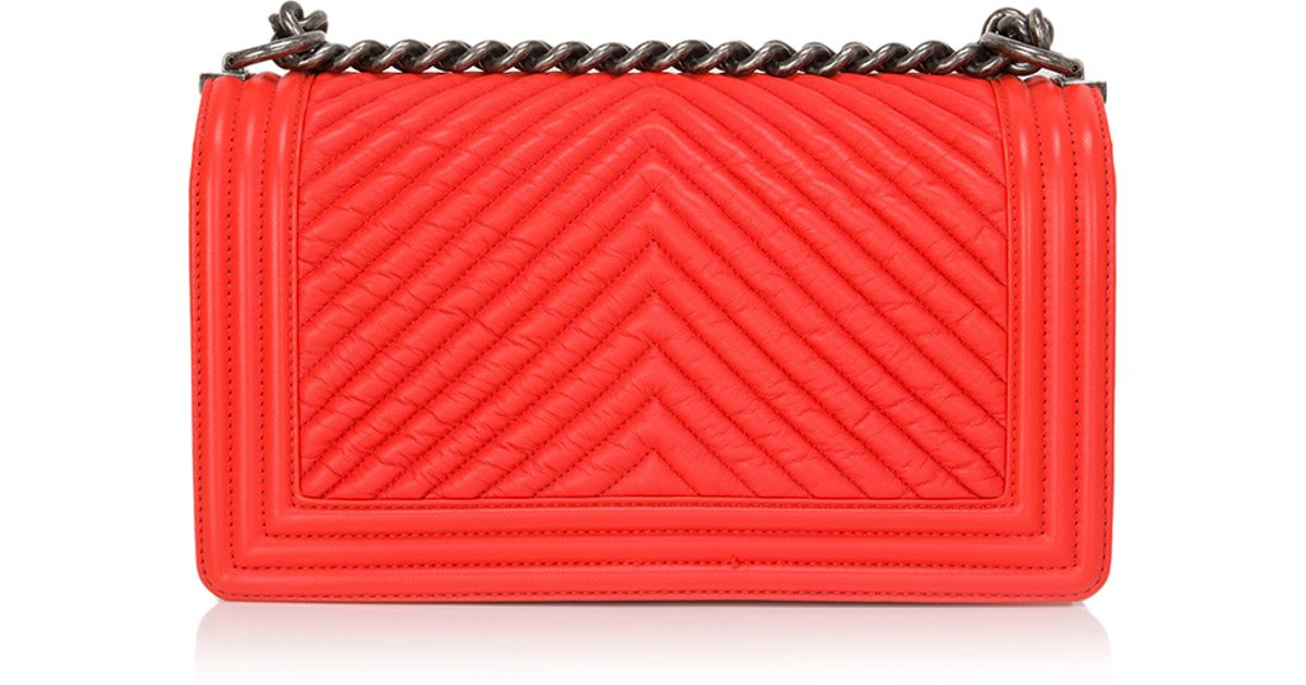 17bb17bdfb4f Madison Avenue Couture Chanel Orange Chevron Medium Boy Bag in Red - Lyst