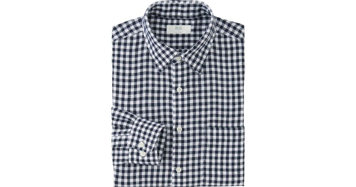Uniqlo men 39 s premium linen checked shirt in blue for men for Uniqlo premium t shirt