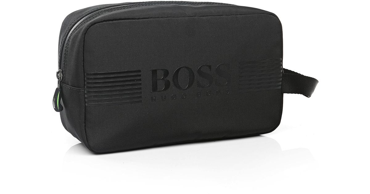 91eb27d55398 BOSS Green Wash Bag In Nylon With Trim   pixel washbag  in Black for Men -  Lyst