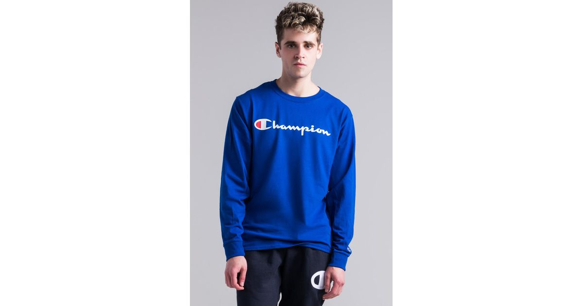 116eb0e2d Champion Heritage Long Sleeve Logo T-shirt in Blue for Men - Lyst