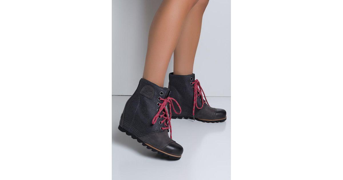 ea4c8b23cce8 Lyst - Sorel Pdx Waterproof Leather Wedge Booties in Gray