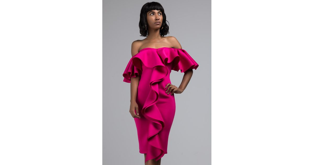 2a5e8834d808 Lyst - AKIRA Larger Than Life Off Shoulder Ruffle Midi Dress in Pink