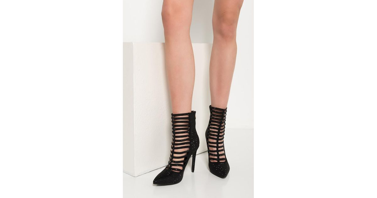 e9d049206ca Lyst - Akira Naughty Ride Rhinestone Stiletto Booties in Black