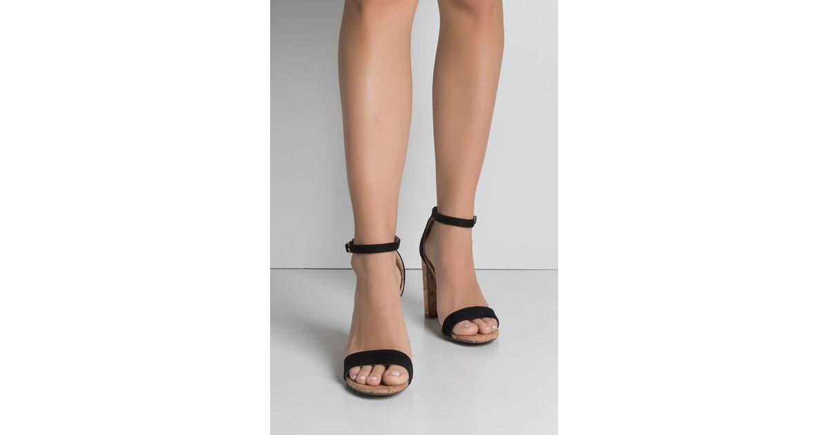 b73d2d0d7d8 Akira Black Pop The Cork Chunky Heel Sandals
