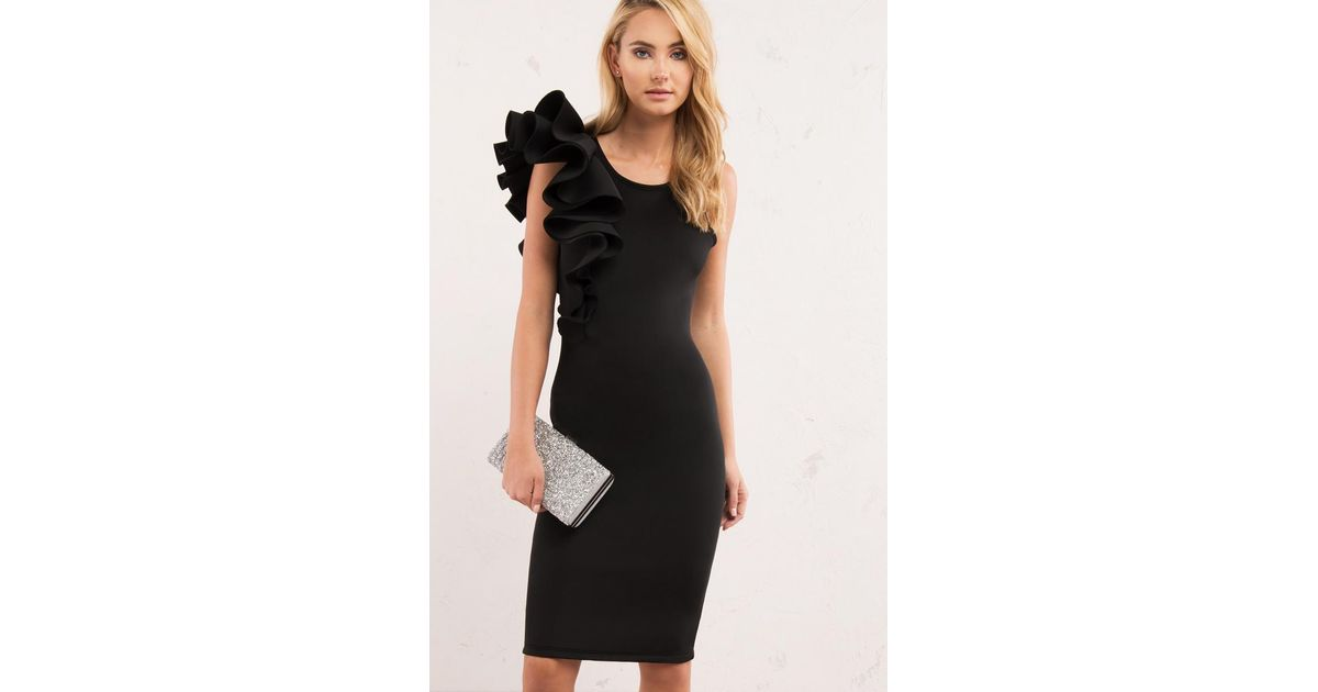 Lyst Akira Yours Truly Side Ruffle Dress In Black