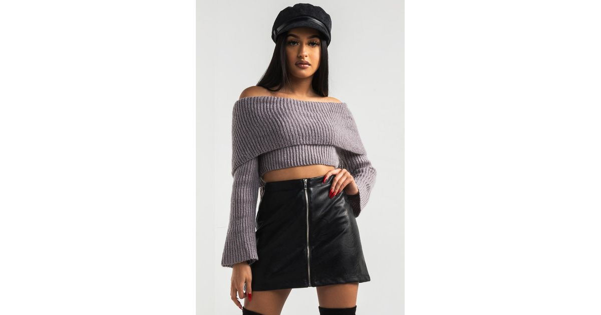 82088ed17091be Lyst - AKIRA Into The Groove Off Shoulder Crop Sweater in Gray