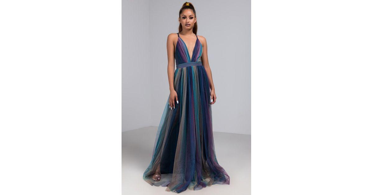 7ada9f0a0e46 Akira Gladys Rainbow Pleated Maxi Dress in Blue - Lyst