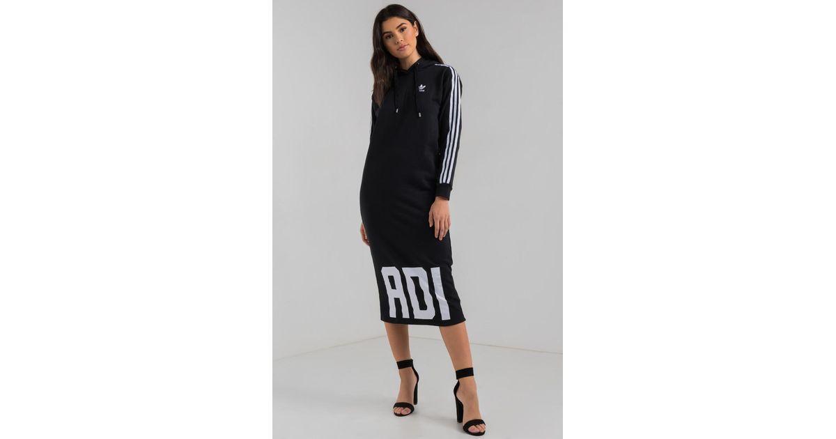 big sale 3991f a1075 AKIRA Adidas Bold Age Midi Hoodie Dress in Black - Lyst