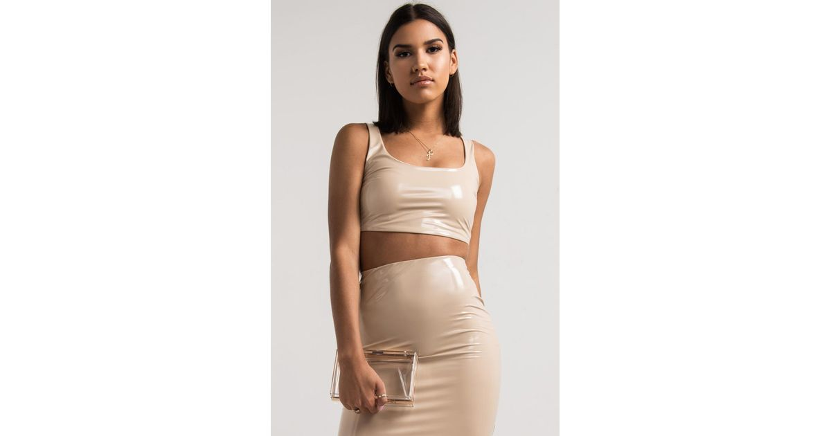 44520fe1f3 Lyst - Akira Life s A Party Patent Crop Top in Natural