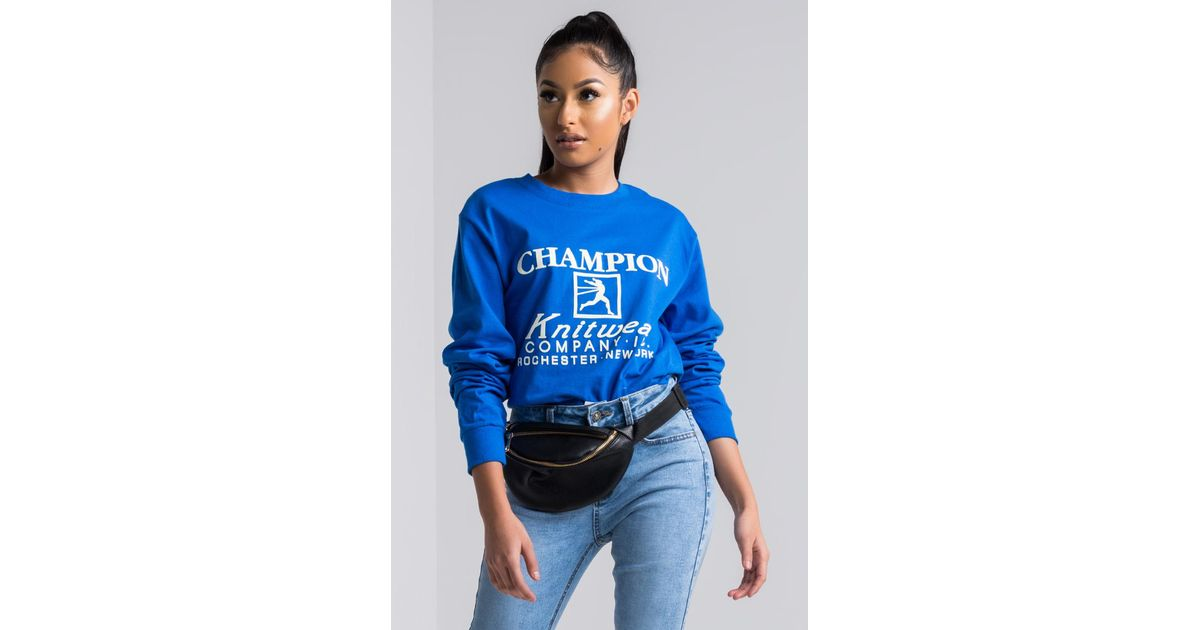 Lyst akira champion cotton long sleeve script tee in blue for Akira long sleeve shirt