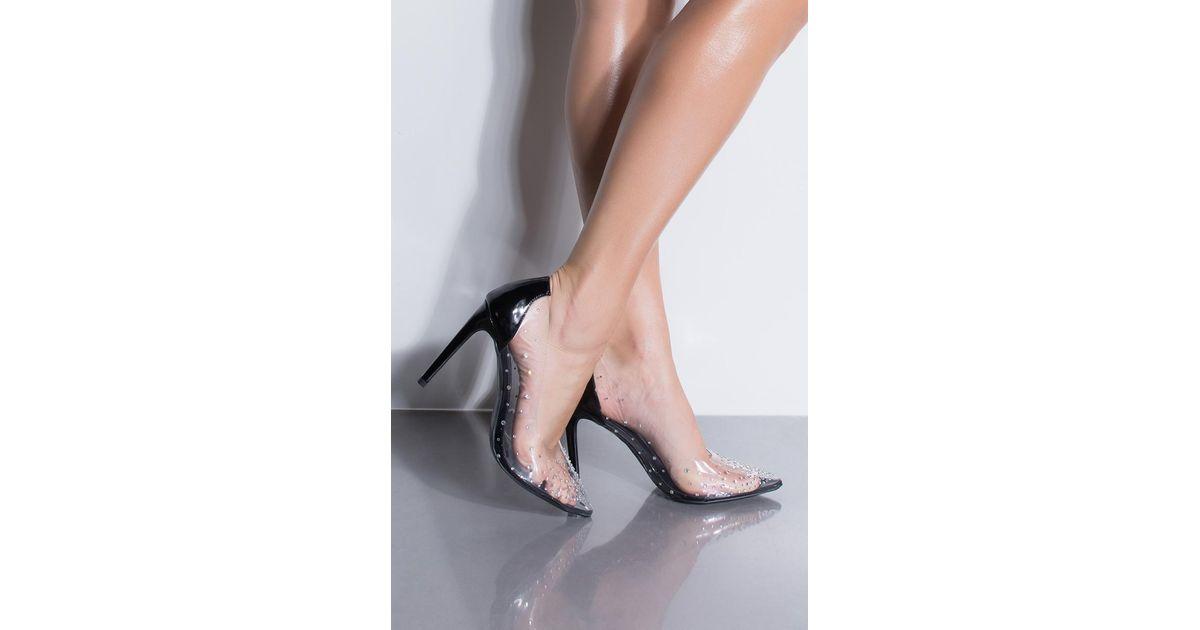 19b24d30f1d Lyst - Cape Robbin Girls Best Friend Rhinestone Clear Heels in Black
