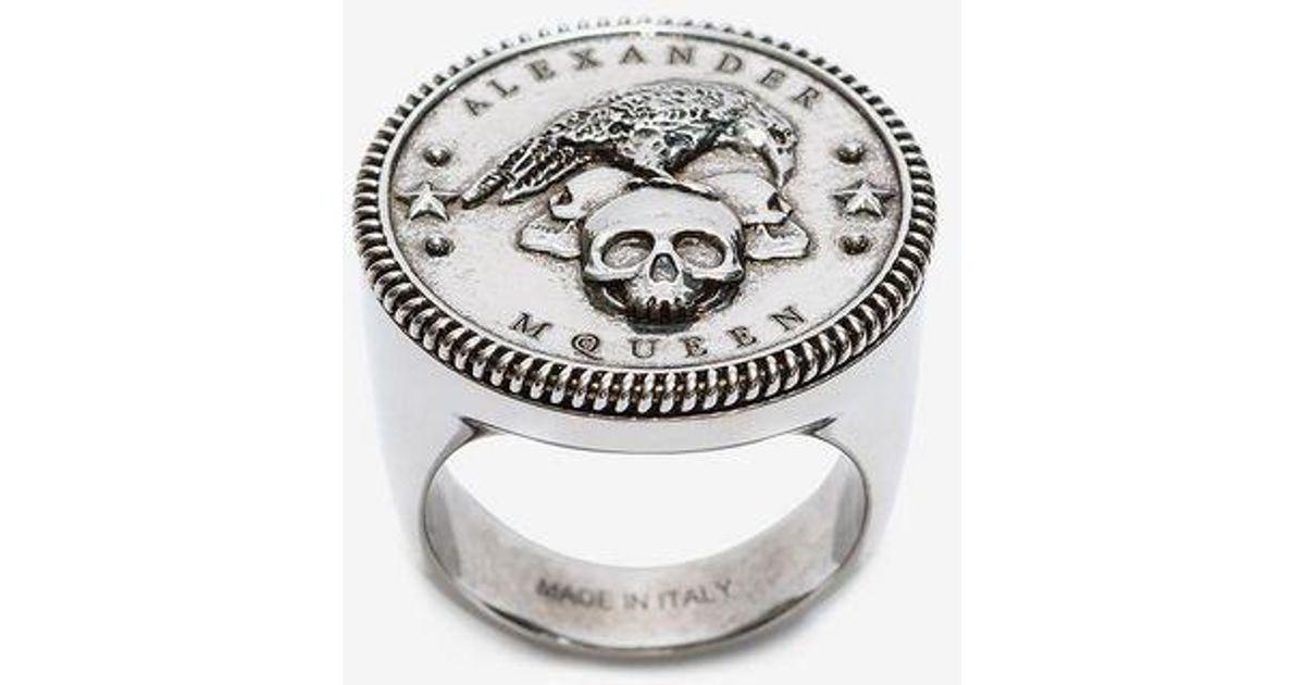 Alexander McQueen Silver Crow Medallion Ring gcbB7O