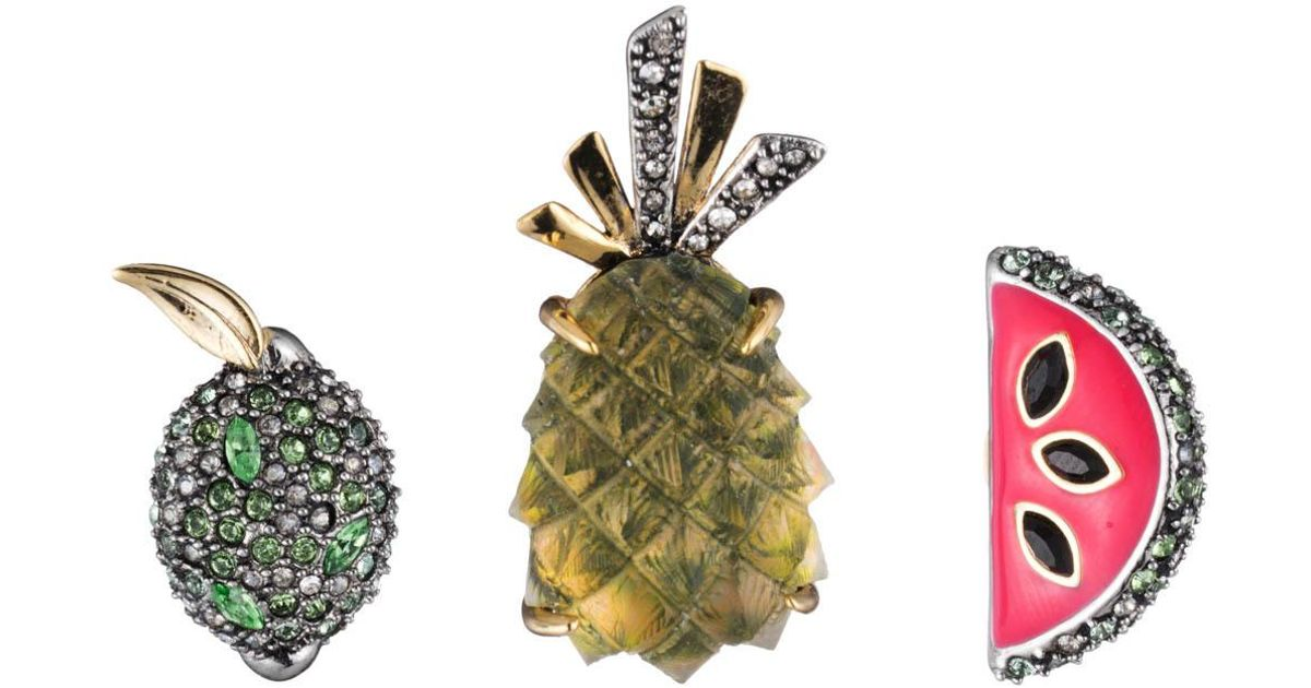Alexis Bittar Fruit Pin Set w/ Crystals AIiHhy