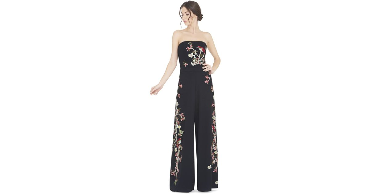19bd6d6de7e Lyst - Alice + Olivia Raven Strapless Embroidered Wide-leg Jumpsuit in Black