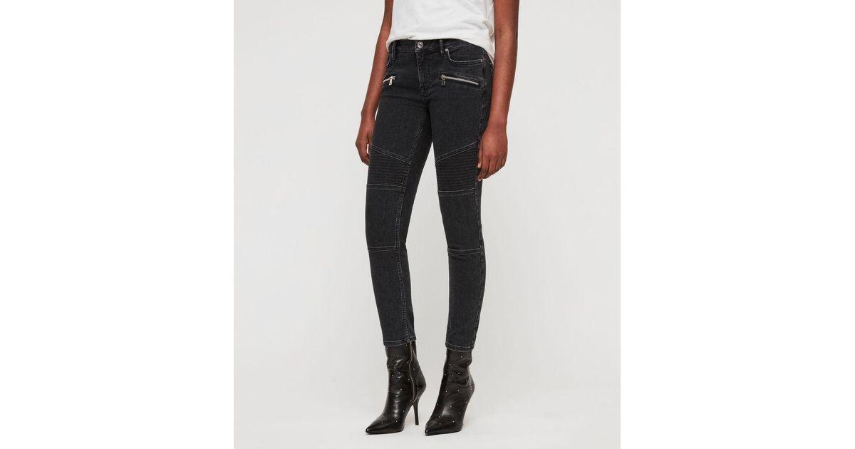 AllSaints Biker Cropped Skinny Jeans in Black - Lyst bb28f7691