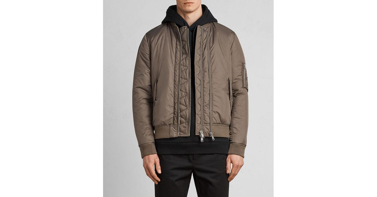 39ef19be36a25 Lyst - AllSaints Lombard Bomber Jacket in Brown for Men