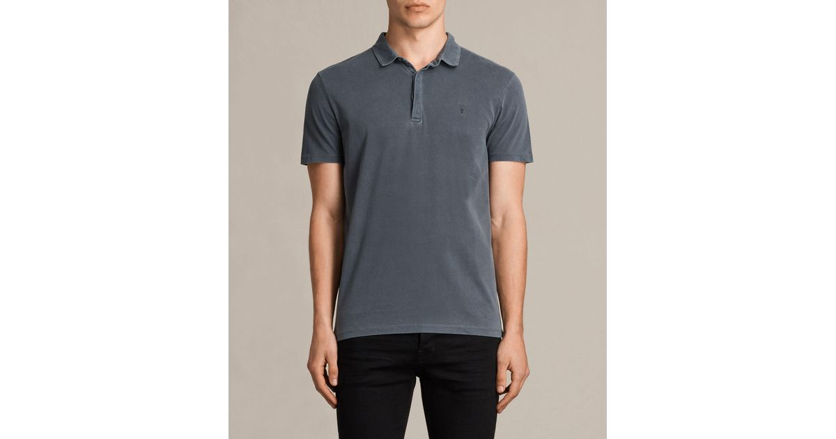 Allsaints ossage polo shirt in black for men lyst for All saints polo shirt