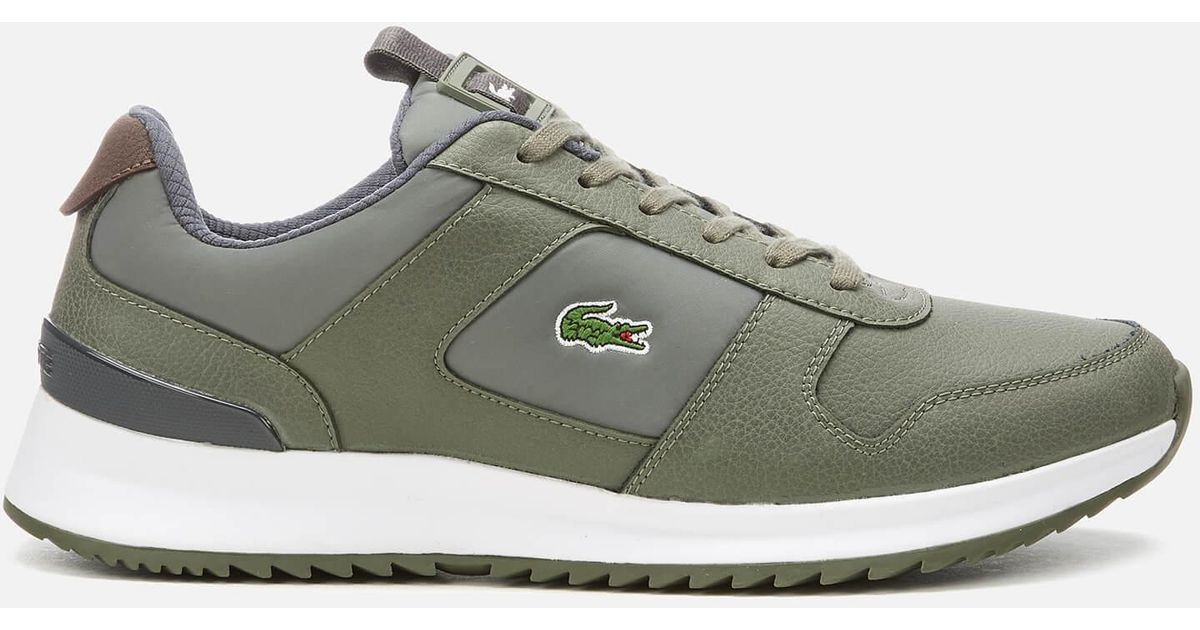 b2a3342cd04 Lacoste Joggeur 2.0 318 1 Textile leather Runner Style Trainers in Green  for Men - Lyst
