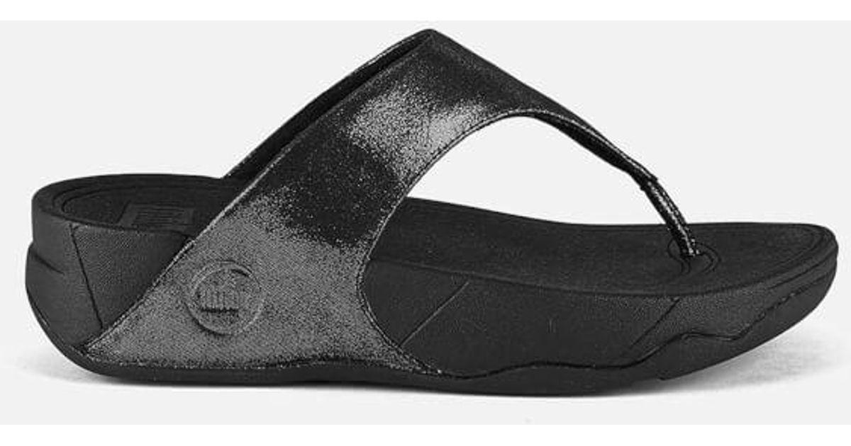03f40c7fb Fitflop Women s Lulu Shimmersude Toe Post Sandals in Black - Lyst