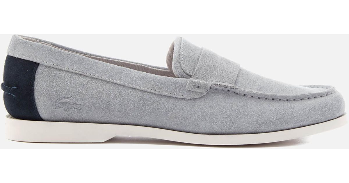 2d616a376 Lacoste Navire Penny 216 Suede Loafers in Gray for Men - Lyst