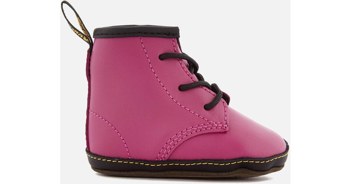70d0f0ea3131 Lyst - Dr. Martens Babies  Auburn Lamper Leather Boots in Pink