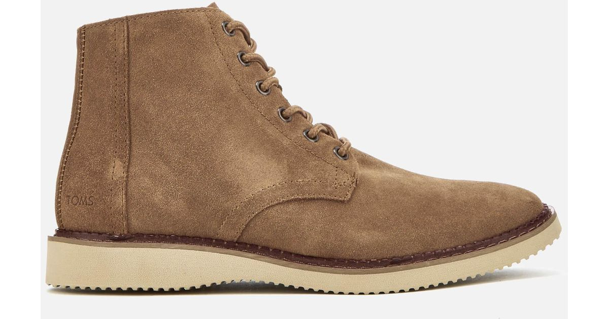 f793cb8c3f9 Lyst - TOMS Men s Porter Suede Lace Up Boots in Brown for Men