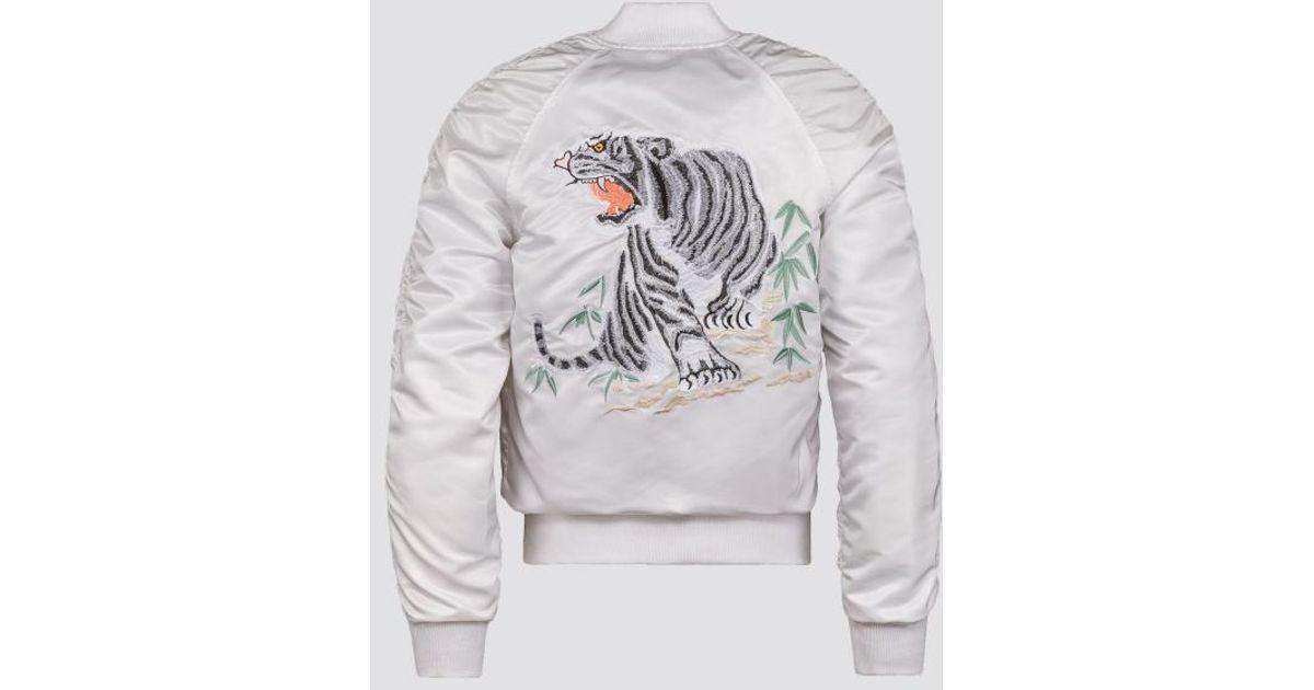 d637735049aa4 Alpha Industries Tiger Souvenir Flight Jacket in White for Men - Lyst