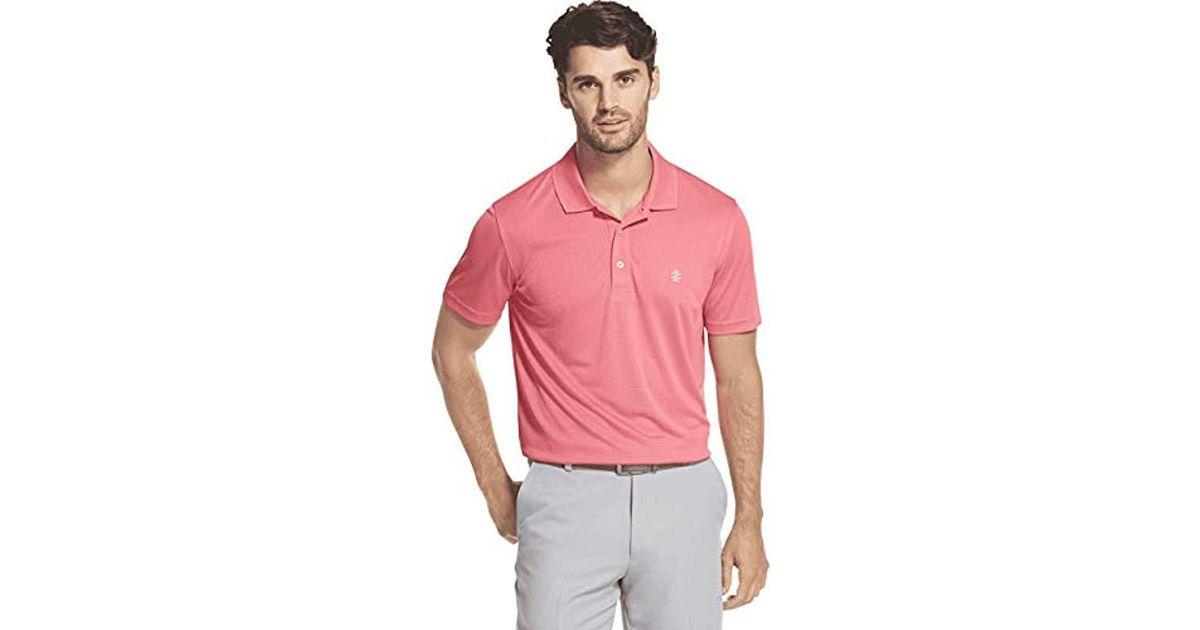 e53297ec Izod Golf Champion Grid Short Sleeve Polo in Red for Men - Lyst