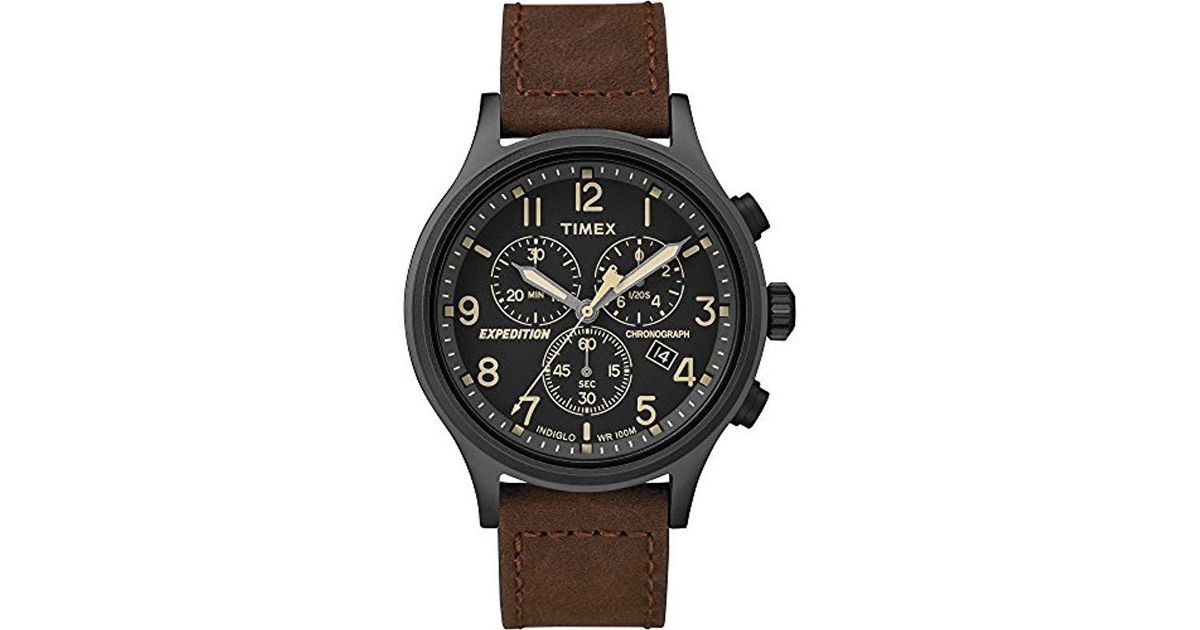 84874c029 Timex Tw4b15700 Expedition Scout Chrono Brown/black Leather Strap Watch in  Black for Men - Lyst