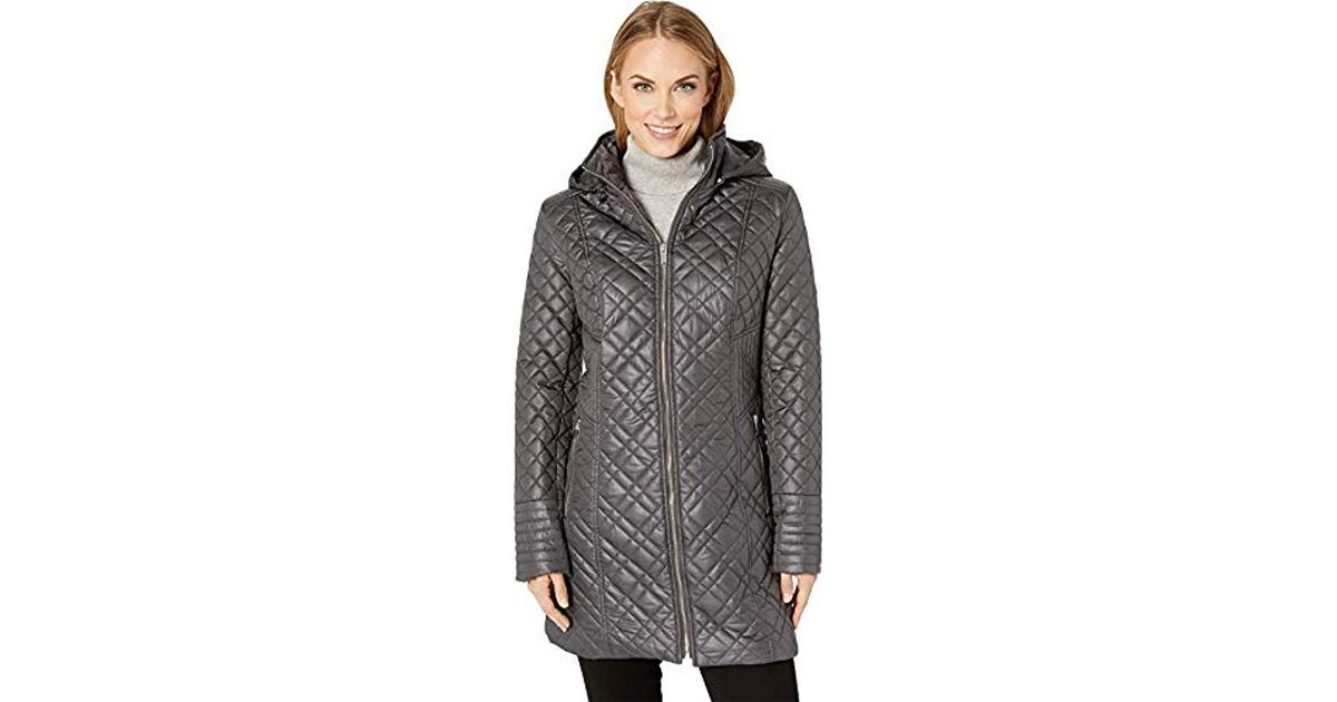 02eb9ca69b2 Women Sports Apparel Via Spiga Womens Center Zip Diamond Quilt Coat with Hood  Quilted Jacket