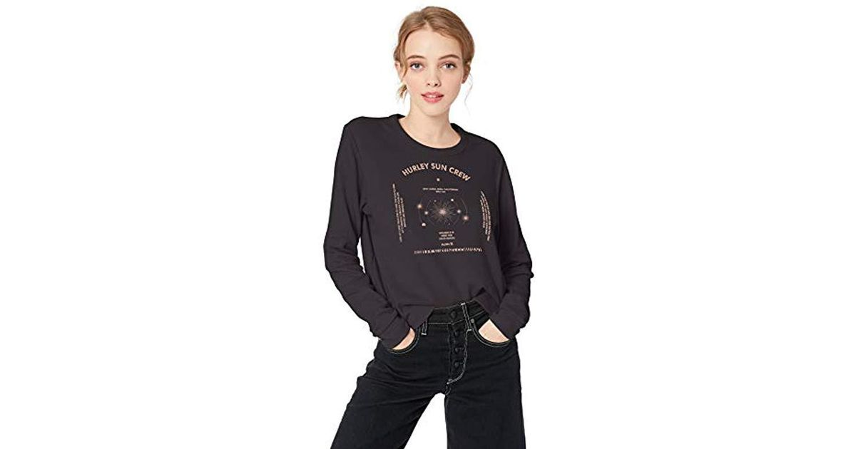 bb3f225a815dc Lyst - Hurley Graphic Long Sleeve Waffle Thermal T Shirt in Black