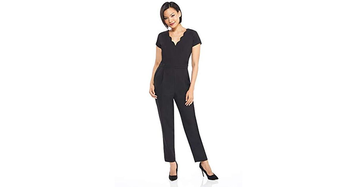 6f68ce965f Lyst - Maggy London Solid Crepe Scallop Neck Jumpsuit in Black