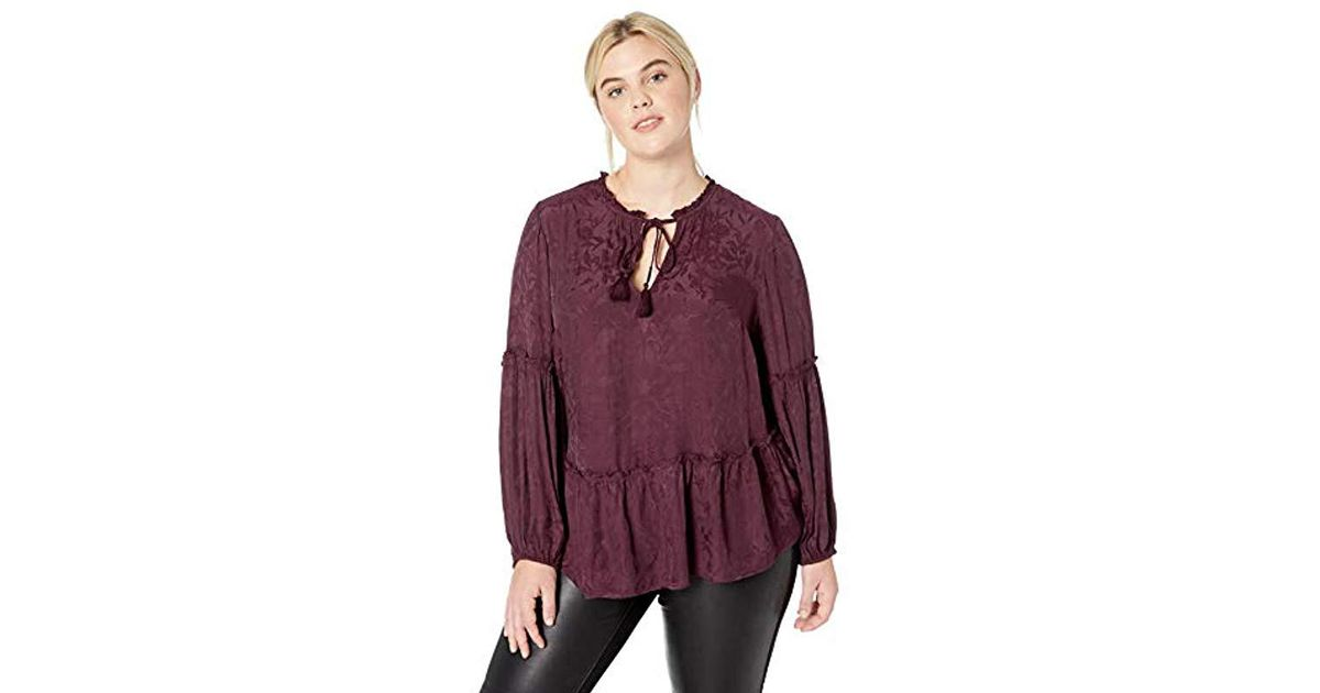 1913e7609ee Lyst - Lucky Brand Plus Size Luxe Jacquard Peasant Top