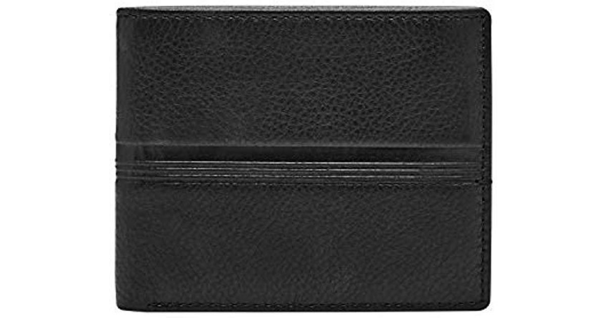 fede95aa76f0 Fossil - Black Hart Leather Bifold Flip Id Wallet for Men - Lyst