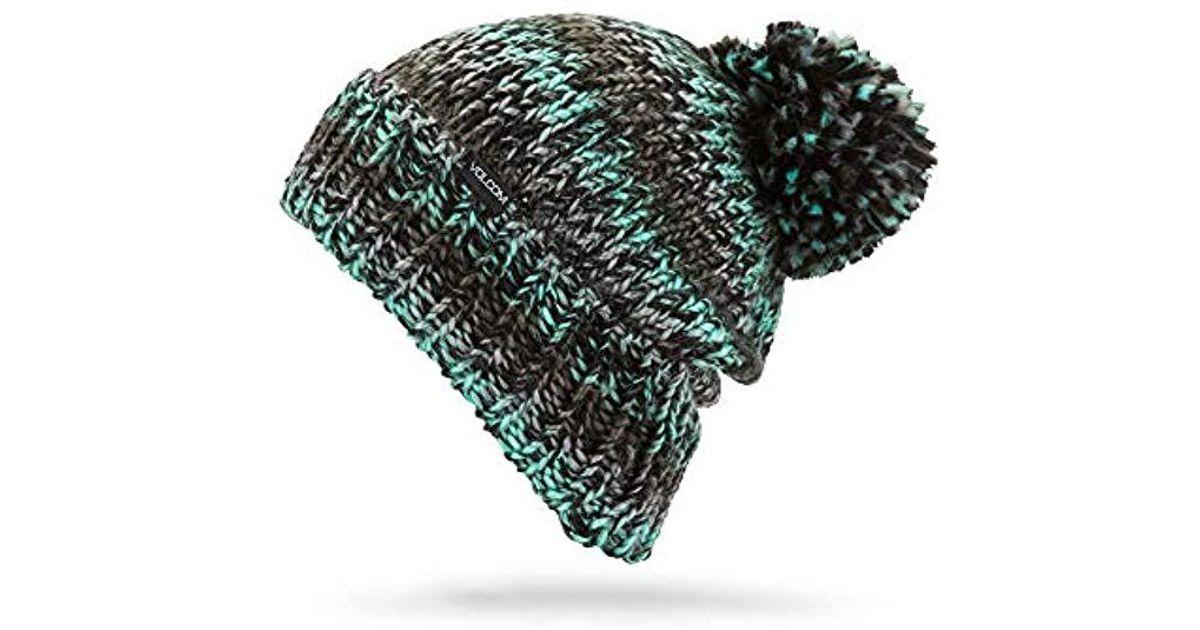 850af5dc3ce Lyst - Volcom Chevron Chunky Silk Acrylic Yarn Snow Beanie in Green - Save  33%