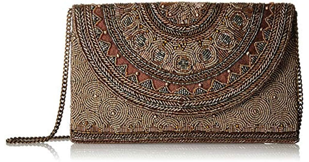 4bd60a67ff11 Lyst - Mary Frances Kismet Bronze Beaded Rounded Flap Crossbody Envelope Clutch  Handbag