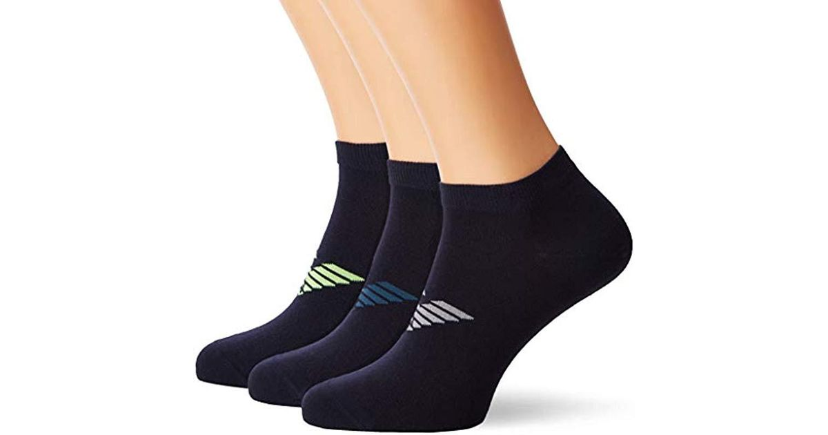 98d1ef973 Lyst - Emporio Armani Plain Cotton 3-pack Ankle Socks in Blue for Men