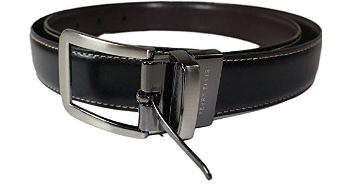 1e55536c4a88 Perry Ellis - Black Portfolio Reversible Tan Amigo Belt for Men - Lyst