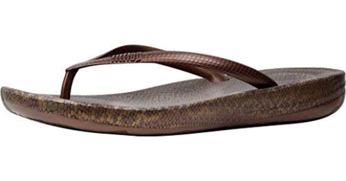 4e58e9f6c094e Lyst - Fitflop Iqushion Ergonomic Flip Flops-crystal Slide Sandal in Brown