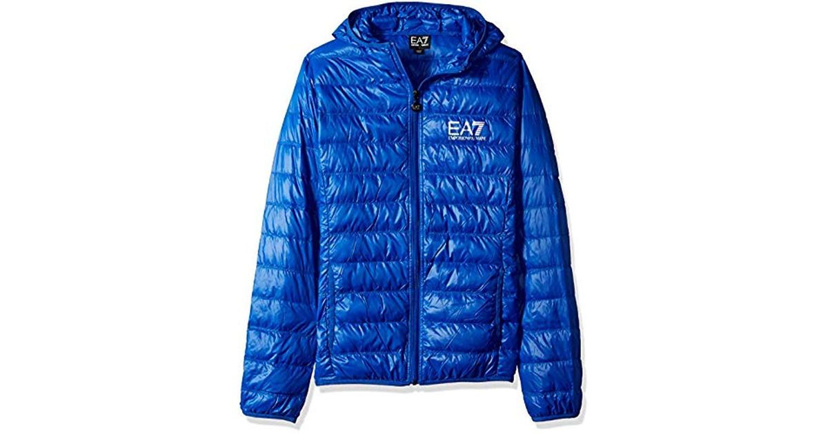 dcc497ca Emporio Armani - Ea7 Train Core Id Down Light Hoodie Jacket, Royal Blue  Small for Men - Lyst